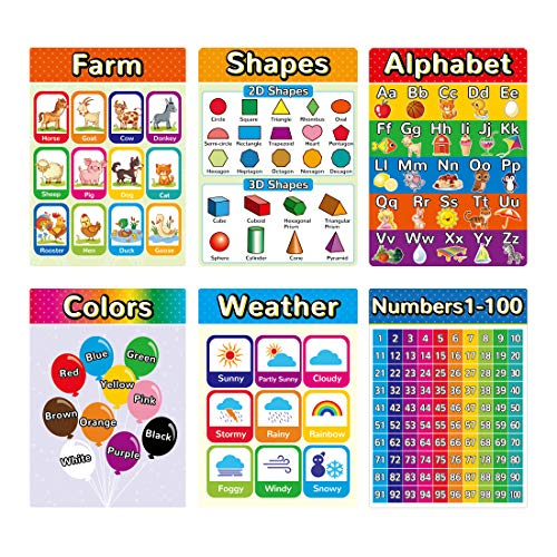 Educational Posters for Kindergarten, Classroom Posters Elementary Learning Posters for Preschool, Toddlers Learning Posters Including Alphabet Colors and Numbers(6 Pack)