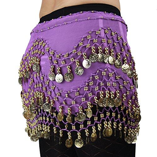 - Hoter pañuelo de gasa con monedas doradas colgando para danza del vientre, a la cadera, Niña mujer, morado
