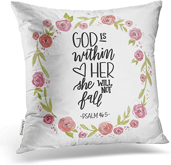 Emvency Throw Pillow Cover God Is Within Her Decorative Pillow Case Quote Home Decor Square 18 X 18 Inch Cushion Pillowcase
