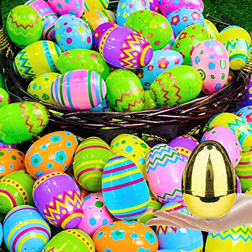 AMENON 100 Pack 3.1' Jumbo Easter Eggs Bulk Easter Basket Stuffers Fillers 1 Golden Surprise Egg for Kids Party Favors, Filling Treats, Printed Plastic Easter Eggs Hunt Classroom Prize Supplies