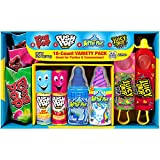 18 count box includes 4 juicy drop pop lollipops, 4 baby bottle pop lollipops, 4 push pop lollipops and 6 ring pop lollipops Mouth-watering fruity flavors for Baby Bottle Pop, Push Pop and Ring Pops include Strawberry, Blue Raspberry, New Unicorn Gli...