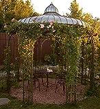 Casa Padrino Gartenpavillon Ø 325 x H. 350 cm Pavillon aus Schmiedeeisen mit verzinktem Blechdach, Farbe:Vintage grün