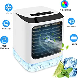 POIUYT Aire Acondicionado Portátil Refrigeracion Mini Enfriador 4 En 1 Enfriador De Aire con Función De Humidificación 3 Niveles De Potencia Luces LED Trabajo Y Hogar