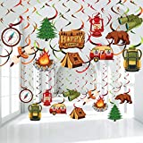 30 Pieces Happy Camper Party Hanging Swirls, Camping Adventure Bears Sign Foil Swirls Ceiling Decorations for Boy Girl Camping Theme Birthday Party Baby Shower Indoor Outdoor Decoration Supplies