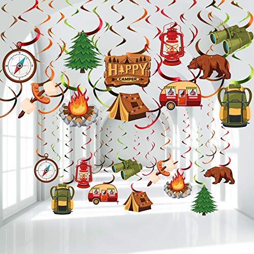 30 Pieces Happy Camper Party Hanging Swirls, Camping Adventure...