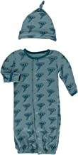 KicKee Pants Print Gown Converter & Knot Hat Set | Geology and Meteorology Collection | (Newborn, Dusty Sky Happy Tornado)