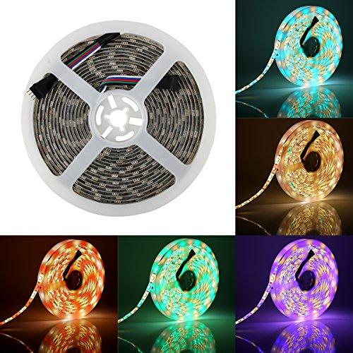 SUPERNIGHT LED Light Strip, 16.4ft/5M SMD 5050 60Leds/M Blue Waterproof Led Flexible Flash 300 LEDs Rope Lights (RGBW)