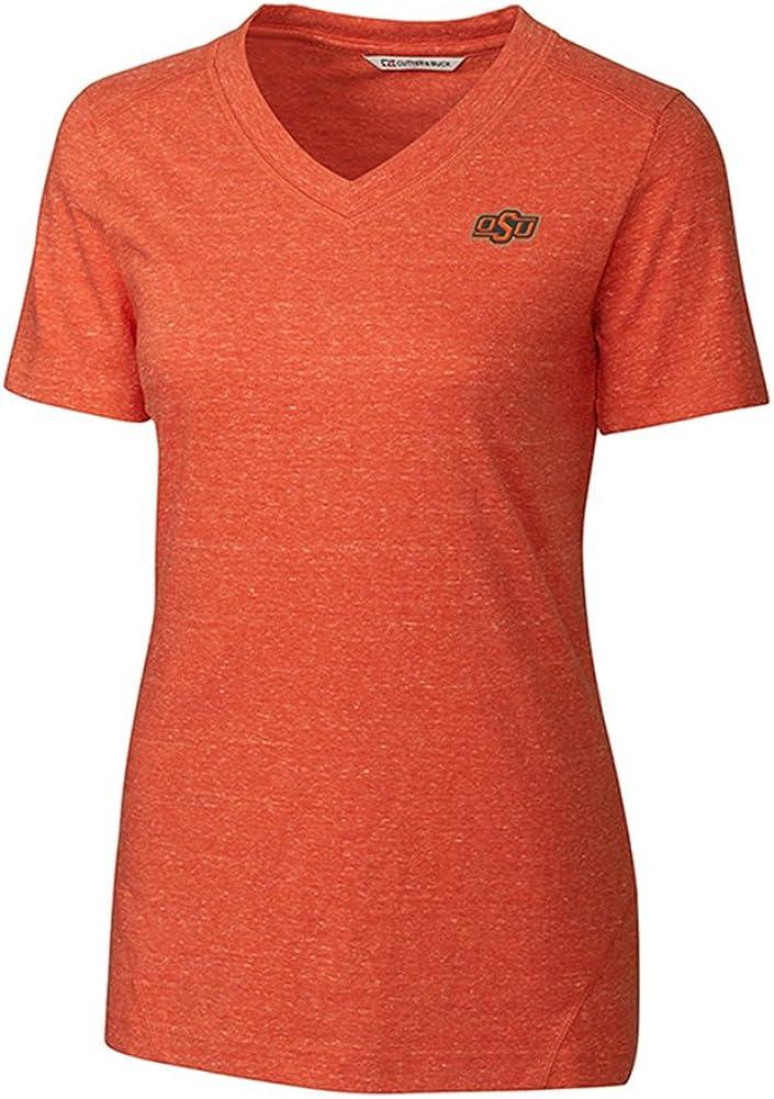 Cutter & Buck S/S Magnoila V Neck Knit OSU College Orange Heather M Womens Shirt