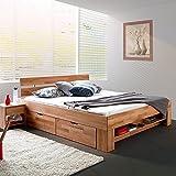 moebelstore24 Bett Futonbett Kernbuche-massiv geölt 140x200 cm inkl. 4 Bettkasten auf Rollen und Fußteilregal Sofie
