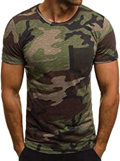 Pandaie Mens Blouse Shirts Men's New Summer Casual Camouflage Printing Elastic Short Sleeve T-Shirt Tops