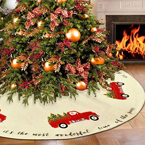 Pknoclan Red Truck Christmas Tree Skirt Cotton Velvet Xmas Tree Skirts Double Layers for Party Holiday Christmas Decorations Xmas Ornaments, 36 Inch, Beige