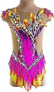 新体操レオタード 体操競技レオタード 女性用 女の子 レオタード フクシア スパンデックス 手作り 宝石で飾られた ダイアモンド調 ノースリーブ