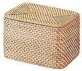 無印良品 重なるラタン長方形ボックス・フタ付 26×18×16cm
