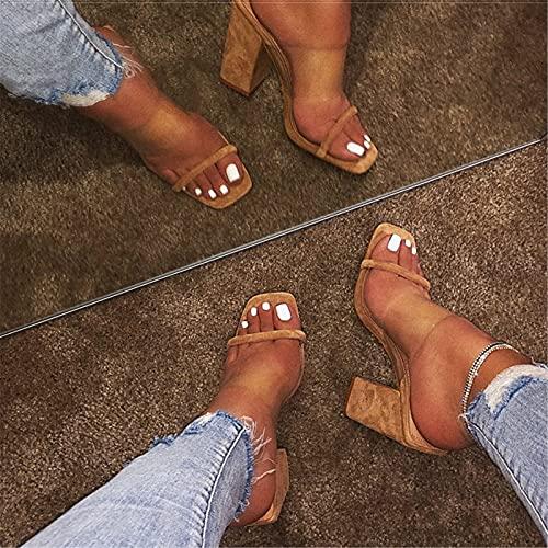 Zapatos de Mujer Sandalias Transparentes Tobillo Mujer Zapatillas tacón Alto Dedos Abiertos Tacón Grueso Moda Mujer Diapositivas Fiesta Bodas Zapatos Verano Sandalias para Damas,Marrón,39 EU
