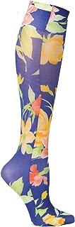 Celeste Stein Mild Compression Knee High Stockings, Wide Calf - Navy Floral