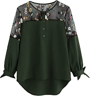 Milumia Women's Floral Embroidered Lace Panel Tie Cuff High Low Blouse Top