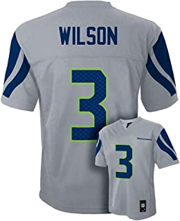 Outerstuff Russell Wilson #3 Seattle Seahawks NFL Youth Mid-Tier Alternate Jersey Gray (Youth Small 8)