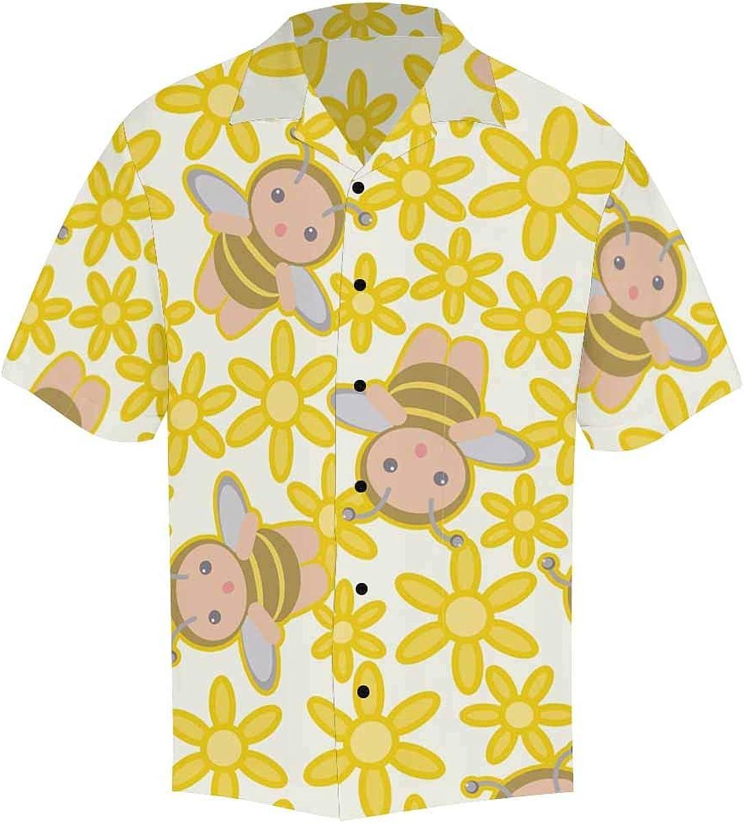 InterestPrint Men's Casual Button Down Short Sleeve Cute Florals Stripe Hawaiian Shirt (S-5XL)