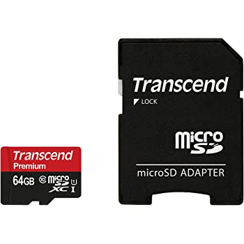 Transcend 64GB MicroSDXC Class10 UHS-1 Memory Card with Adapter 90 MB/s (TS64GUSDU1)