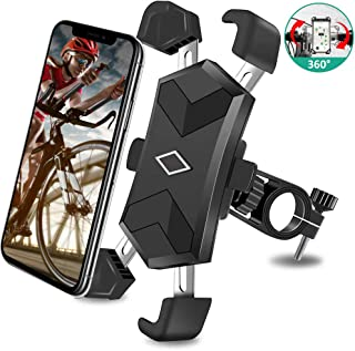 Bike Phone Mount, One-Second Lock Bicycle Phone Holder with 4 Stainless Steel Telescopic Clamp Arms for Super Stability 360° Rotation Anti Shake Motorcycle Phone Mount for iPhone Android 4.5-7.2 inch
