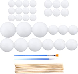 Aneco 30 Pieces Craft Foam Balls White Foam Balls and 30 Pieces Bamboo Sticks 4 Pieces Paint Brush for DIY Crafting and Decoration