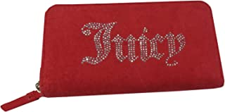 Black Label Wallet Red Velour Zip Around Clutch Women's