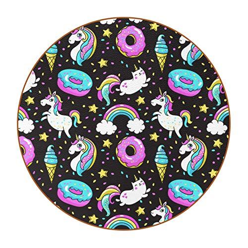 Posavasos para Bebidas Unicornios Donuts Arcoiris Coasters Juego de 6 impresión Mug Mats para la Cocina Salón Bar Decoración Regalos de Diseño Creativo 11x11 cm
