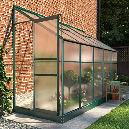 BillyOh Polycarbonate Aluminium Metal Frame Lean-To Greenhouse Green (4ft x 10ft)