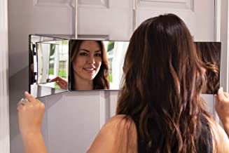 Self Style System Travel Size for Women (Black) - 3 Way Mirror with Adjustable Height Brackets for Makeup, Hair Styling, Coloring, Cutting, and Grooming