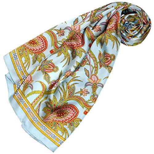 LORENZO CANA Luxus Damen Seidentuch aufwändig bedrucktes Tuch 100% Seide 90 cm x 90 cm harmonische Farben Damentuch Schaltuch 89161