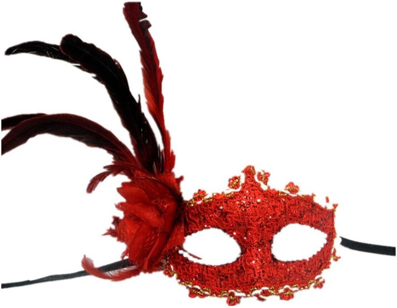 Face mask Shield Veil Guard Screen Domino False Front Halloween Princess Half face Cosplay Fun Dance mask red Feather