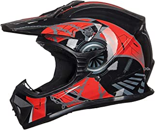 ILM Adult Youth Kids ATV Motocross Dirt Bike Motorcycle BMX MX Downhill Off-Road Helmet DOT Approved (RED BLACK, Youth-XL)