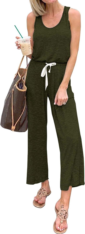 PRETTYGARDEN Women's Casual Solid Sleeveless Jumpsuit Crewneck Drawstring Waist Stretchy Long Pants Romper
