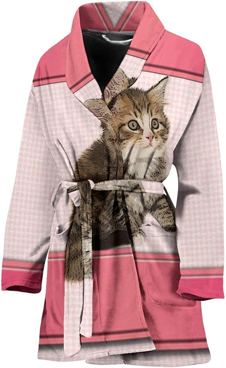 Deruj Cute Siberian cat Print Women's Bath Robe