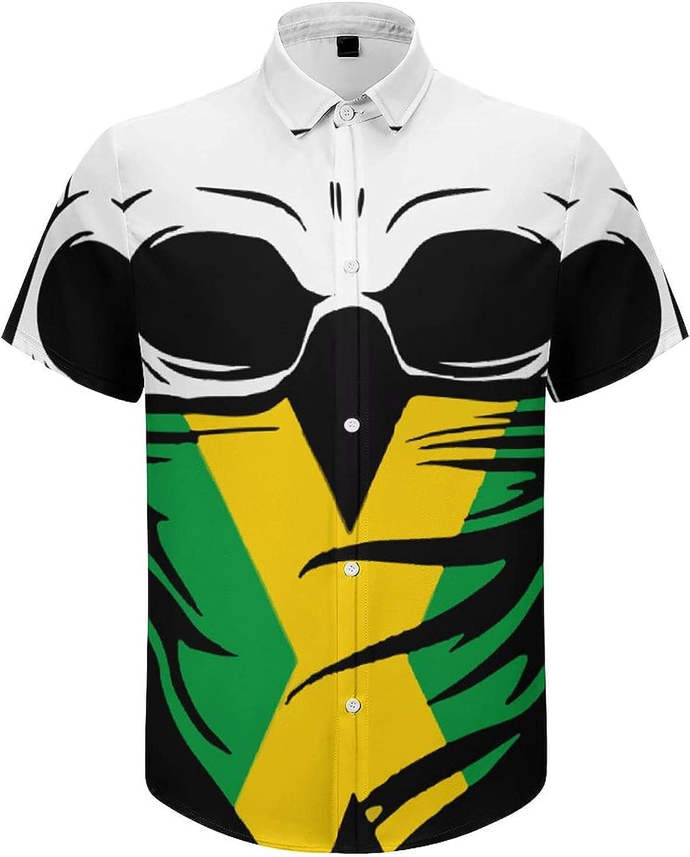 Men's Short Sleeve Button Down Shirt Jamaica Skull Summer Shirts