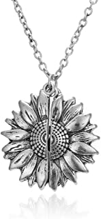 Sunflower Pendant Necklace You are My Sunshine for Women...