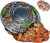 CREOMG Fish Tank Decorations, UFO Flying Saucer, Aquarium Ornament, Aquarium Decorations, Creative Betta Fish Hide Cave for Aquarium Decorations Home Décor(Includes 2 Pieces of Natural Shells)