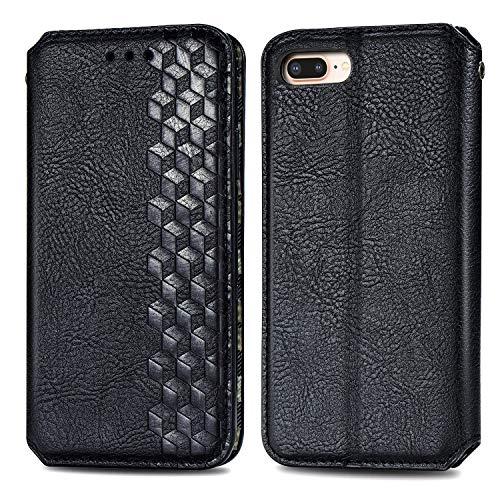 Trugox Funda Cartera para iPhone 8 Plus/7 Plus/6S Plus de Piel con Tapa Tarjetero Soporte Plegable Antigolpes Cover Case Carcasa Cuero para Apple iPhone 7 Plus/8 Plus/6 Plus - TRSDA120403 Negro