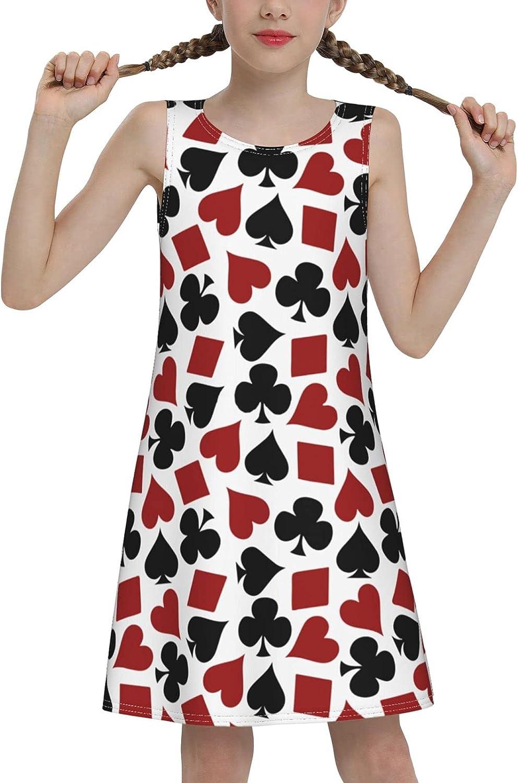 YhrYUGFgf Poker Pattern Sleeveless Dress for Girls Casual Printed Lightweight Skirt