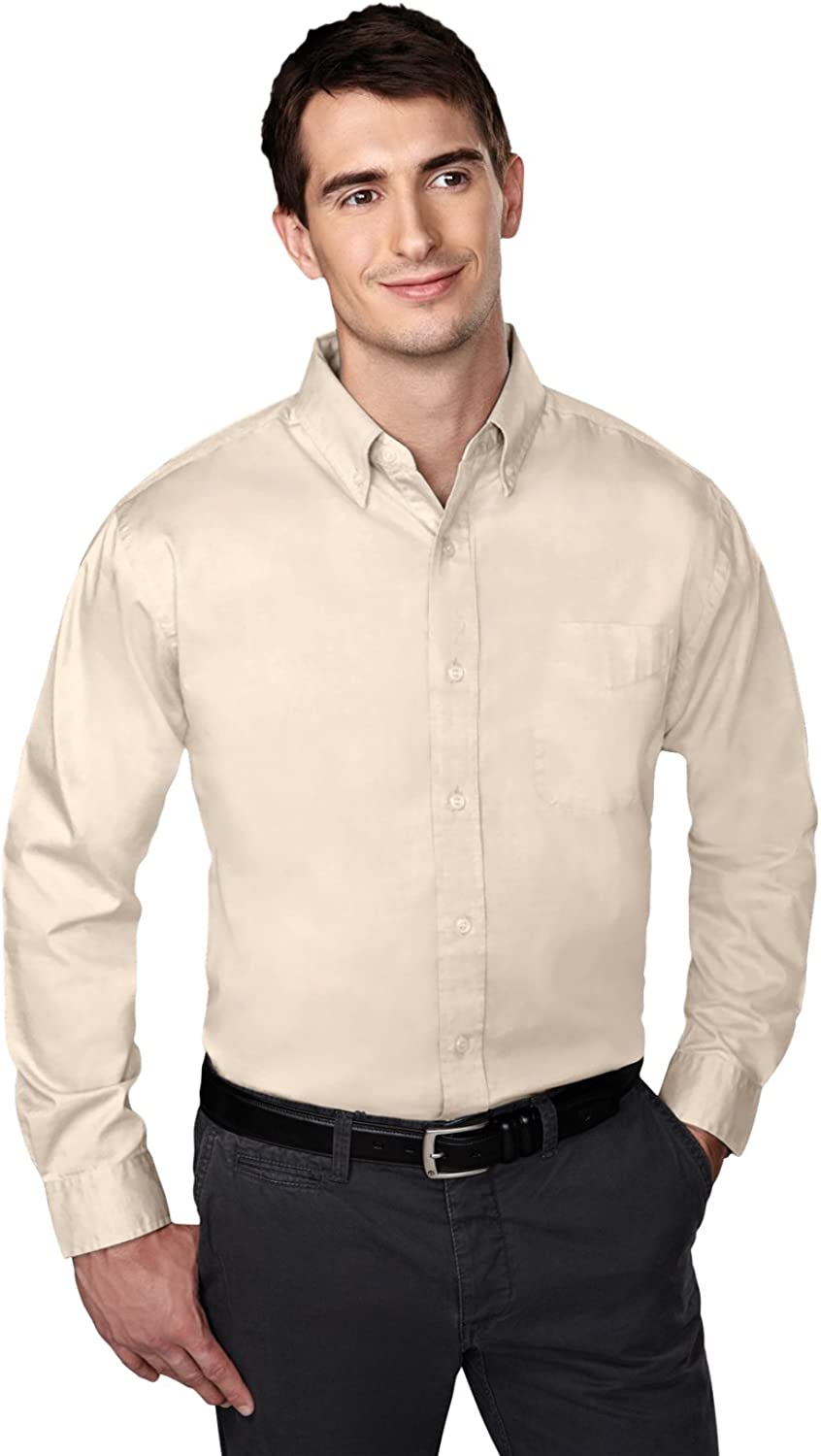 Tri-mountain Mens cotton/poly wrinkle free pinpoint oxford shirt. 780 - SAND_LT