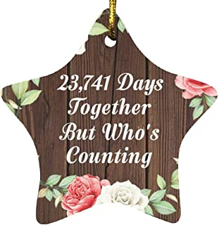 65th Anniversary 23,741 Days Together Who's Counting - Star Wood Ornament A Christmas Tree Hanging Decor - for Wife Husban...