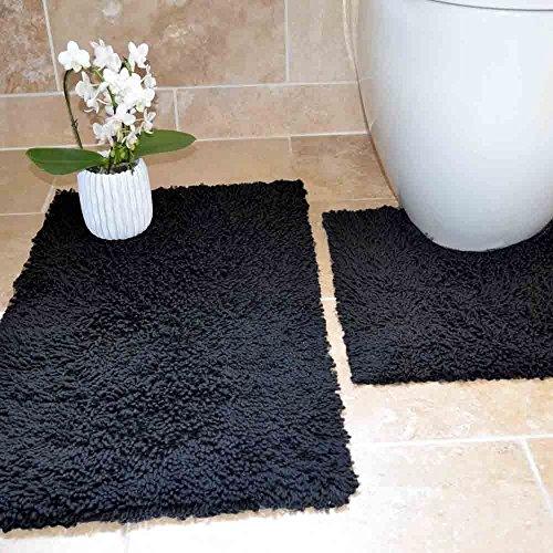 Tony's Textiles Tappetini per Bagno - 100% Cotone Ritorto - Set da 2 - Nero