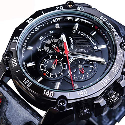 Forsining Uhren Herren Mode Business Kleid Analog Automatisch Sport Leder Armbanduhr,Blue