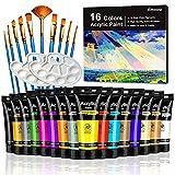 Emooqi Kit de Pintura Acrílica, Tubos de Pintura Acrílica 16 Colores x75ml Pintura Acrílica con 10 Pinceles 2 Paleta para Tela, Cerámica, Arcilla, Madera y Tela