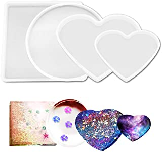 AFUNTA 4 Pcs Silicone Resin Mold, Flexible Silicone Large Tray Mould, Square, Round, Heart Shape, Resin Moulds for Casting...
