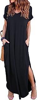 ZIOOER Women's Casual Loose Pocket Long Dress Split Maxi Dresses