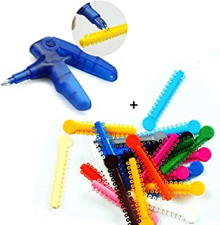 Dental Orthodontic Ligature Ties and Orthodontic Ligature Gun Dispenser, Teeth Orthodontic Ligature Ring Rubber Bands (Multi-color) 1040pcs (Ligature Gun and Ligature Ties)