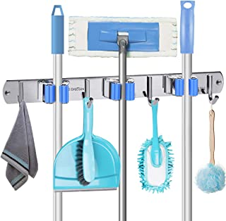 Heavy Duty Tool Hanger Wall Mounted Stainless Steel Storage Rack for Lanudry Garden Garage Tools Rack Organizer Durable,2cards Mop Broom Holder