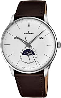 Meister Calendar Mens Automatic Watch - 40mm Silver Face with Luminous Hands, Day, Date, Month, Moonphase - Stainless Steel Burgundy Leather Band Luxury Watch Made in Germany 027/4200.01