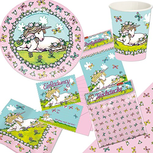 105-delige * eenhoorn * partyset voor kinderverjaardag met borden + beker + servetten + uitnodigingen + feestzakken + tafelkleed + luchtslingers + ballonnen, enz. // roze meisjes themafeest.